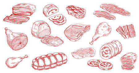 Pork sausage, veal beef and lamb steak sketches. Bacon, ham and jamon leg, meat roll, chicken or turkey legs, sirloin, brisket and mortadella engraved vectors set. Raw and processed meat products Иллюстрация