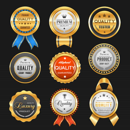 Business labels with vector gold badges of premium quality certificates. Best product award ribbon rosettes with glossy golden stars, royal crowns and winner trophy cups, laurel wreath and tapes