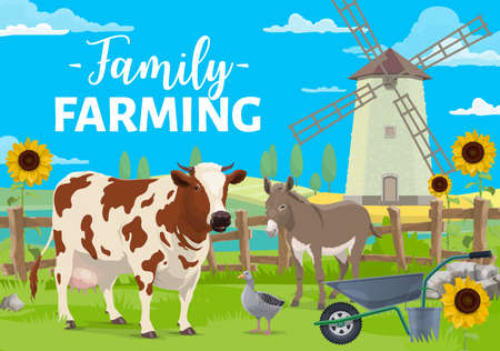 Family farming. Farm animals on rural landscape with windmill, crops and sunflowers field. Farmers cattle and poultry, milk cowl, donkey and goose on ranch yard cartoon vector