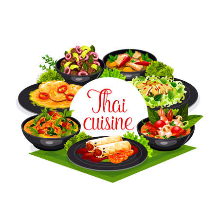 Thai cuisine vector spring rolls, calamari salad and tom yam kung, spicy chicken with basil, pork tenderloin with peanuts and ginger soup with sea bass. Asian food Thailand dishes round frame, poster Illustration