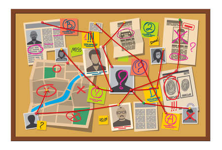 Crime board with pins and evidence connected with red thread, vector detective investigation table map with pinned photos, newspapers and sticky notes with question marks. Cops plan for solving crime
