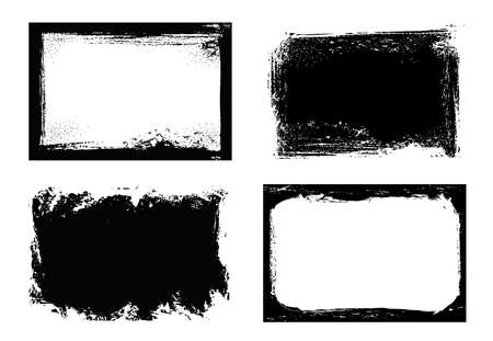 Grunge frames isolated vector black rectangular borders with rough scratched edges. Grungy vintage old texture, dirty spatter vignettes, retro design elements or photo frames on white background set