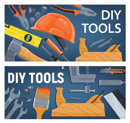 DIY and construction, woodworking tools vector. Pliers and wrench, bulb level and ax, screwdriver, helmet and hand jigsaw, paint brush and taping knife, chisel and vise. DIY tools and equipment
