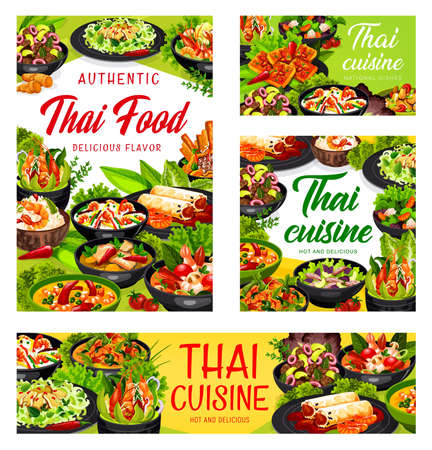 Thai cuisine vector spring rolls, thai salad with beef and seasame, rice with coconut milk and shrimp, calamari salad. Tom yam kung and salad with grapefruit, Asian food dishes banners
