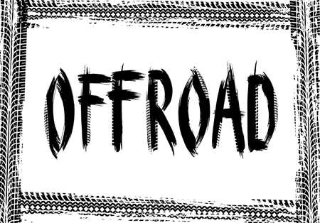 Offroad vector frame made of black tire prints. Rally, motocross dirty tires pattern, offroad grungy trails texture. Border with grunge typography for automobile service banner or poster design