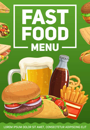 Fast food meals and drinks poster. French fries, onion rings and hamburger, taco, cheeseburger and burrito, hot dog, beer and soda vector. Fast food cafe takeaways, sandwiches and cold drinks banner