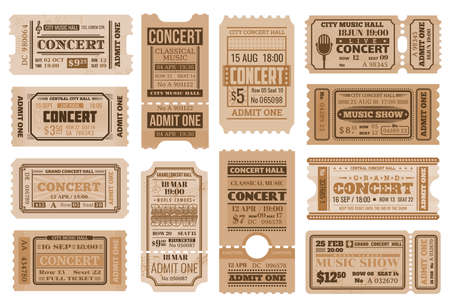 Music concert tickets, retro admits. Vector vintage cards for musical performance, show entry coupons for access with date, time, seat and row number, price and separation line tickets templates set