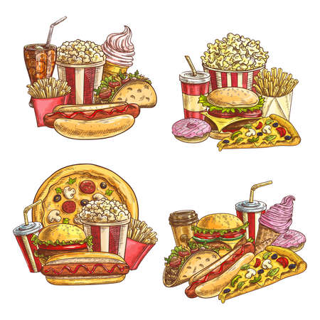 Fast food takeaway meals and snacks. Street cafe burgers and cold drinks. Pizza, french fries and hamburger, tacos, hotdog and donuts, popcorn bucket, coffee and ice cream hand drawn sketch vectors