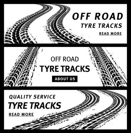 Off road tire tracks, black car tires prints, grunge vector marks. Bike race, vehicle, transportation dirty wheels trace. Rubber tires print, automobile or bicycle drag. Monochrome graphic banners set