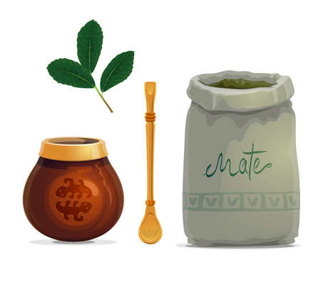 Mate tea drink cartoon vector of yerba mate plant leaves, calabash gourd cup, metal bombilla straw and bag of dried branches. South American hot beverage with accessories
