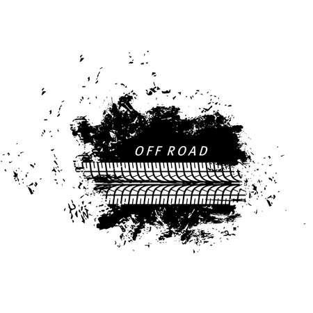 Offroad sport, grunge tire prints, vector tires track with dirty spot. Bike or car rally competition, motocross. Vehicle protectors, wheels trace. Abstract monochrome pattern, isolated graphic texture