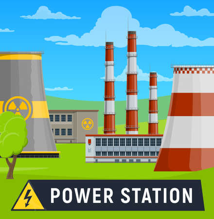 Electricity generation power station building with radiation warning symbol on cooling towers. Electrical energy production and supply industry nuclear or gas-powered power plant vector Stock Illustratie