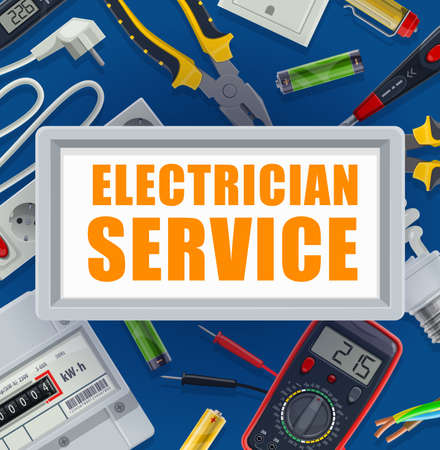 Electrician service banner. Electric energy supply industry equipment, electrician tools vector. Multimeter and electricity meter, batteries, pliers and testing screwdriver, extension cord with outlet Illustration