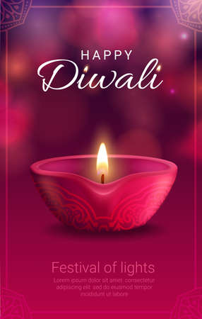 Diwali festival of light vector banner with Indian Hindu religion diya lamp. Pink oil lamp with fire flame and clay cup, decorated by rangoli ornament, greeting card with paisley floral frame Illustration
