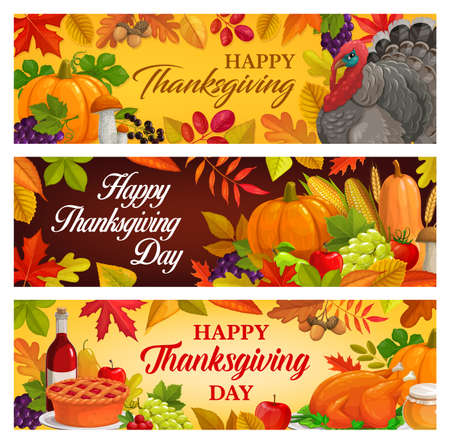 Happy Thanksgiving day vector banners with turkey, autumn harvest pumpkin, corn and grapes with mushrooms and falling leaves maple, oak or poplar and birch tree with rowan. Thanks Giving greetings
