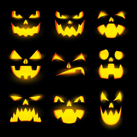 Scary glow pumpkin faces isolated vector icons, Halloween monster emoticons, jack lantern emojis, angry and gloating expressions, glowing spooky evil eyes, teeth and creepy smiles, funny creatures set Illustration