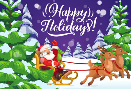 Santa riding Christmas sleigh on snow of Xmas winter holiday forest vector greeting card. Snow sledge of Claus with gifts and presents, reindeers, bells and bag, snowflakes, pine and fir trees Ilustração