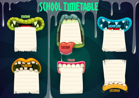 Education school timetable with cartoon monster mouths vector template. Halloween kids time table, lessons schedule with creepy jaws holding paper sheets and drip slime, weekly classes planner frame  イラスト・ベクター素材