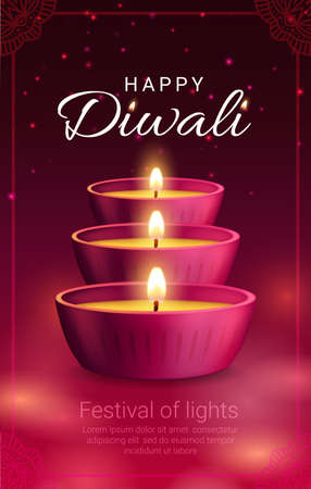 Diya lamps, vector Diwali or Deepavali light festival of Indian Hindu religion holiday. Pink clay lamps with burning fire flames and vegetable oil in frame of religious rangoli decoration
