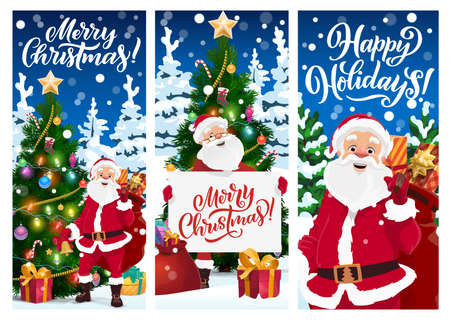 Merry Christmas greeting cards or vector banners. Cartoon Santa Claus with Xmas presents sack stand at decorated fir-treesor spruce with gift boxes lying on snow. Santa holding poster with lettering