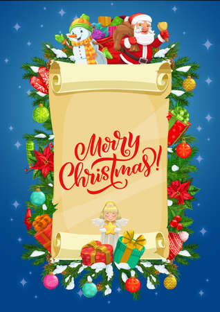 Christmas vector greeting card of paper scroll with Santa, snowman and gifts. Xmas tree, snow and present boxes, bell, ribbon bows and snowflakes, balls, angel, star with greeting wishes on parchment