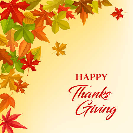 Happy Thanksgving vector greeting card with frame of autumn leaves. Thanksgiving day congratulation, fallen maple, oak, birch or rowan with chestnut tree foliage. Fall season holiday cartoon poster 免版税图像 - 157450200