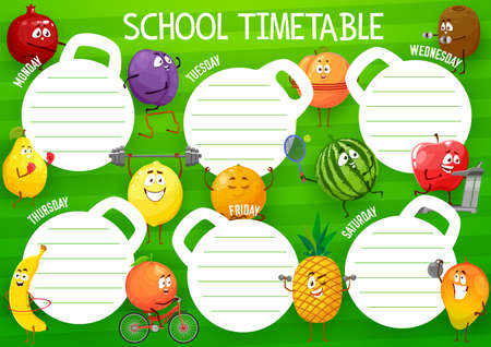 Education school timetable vector template with cartoon fruits sportsmen. Kids time table schedule for lessons with funny characters exercising and sports activity, weekly classes planner frame design