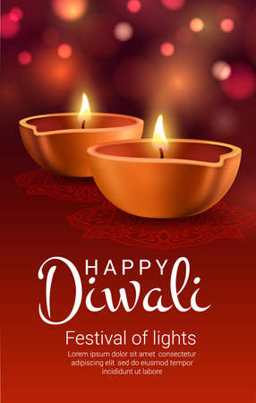 Diwali diya lamps of Indian light festival vector banner. Burning oil lamps of Hindu religion Deepavali holiday, golden clay candle lantern with rangoli decoration of paisley flowers and bokeh lights