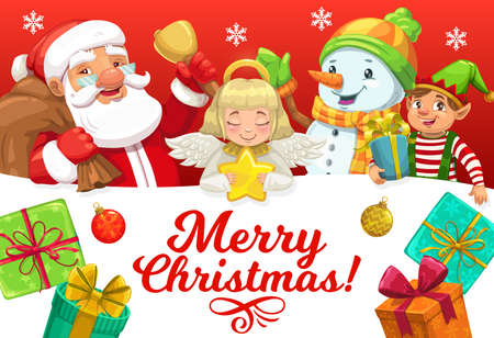 Santa and helpers with Christmas gifts vector greeting card of Xmas winter holiday. Claus, snowman, elf and angel with bell, star and present boxes, snowflakes, ribbons, bows and ornament balls Illustration