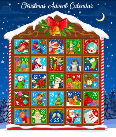 Christmas advent calendar vector design of winter holiday countdown template with Xmas bell and wooden house. Christmas tree, Santa and snowman, gifts, elf and animals, reindeer, poinsettia and sock