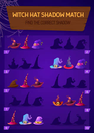 Kids game witch hat shadow match, children logic activity, preschool or kindergarten education with halloween magician caps. Cartoon worksheet with magic headwear, riddle for logical mind development
