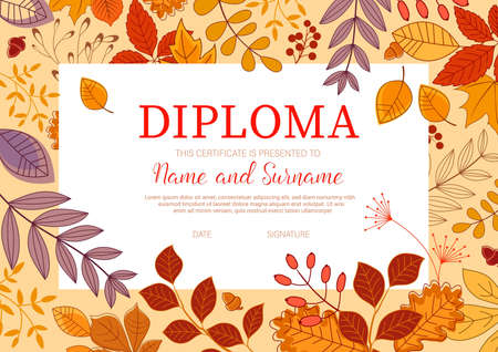 Kids diploma template with autumn leaves. Trees and shrubs branch with leaves, forest berries and acorns vector. Kindergarten or school diploma, education achievement certificate with autumn foliage