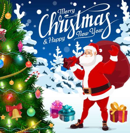 Christmas tree, Santa and Xmas holiday gifts bag, Christmas and New Year vector design. Winter Xmas tree with bell, balls, stars and snowflakes, present boxes, Claus, candies, ribbons and bows