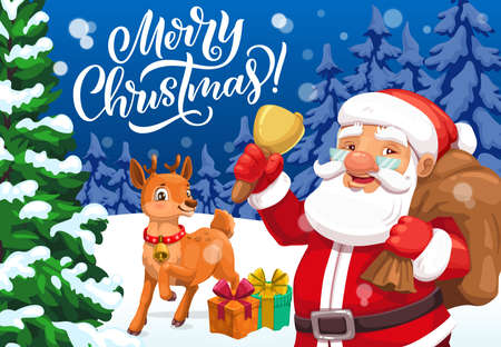 Merry Christmas greeting card with vector Santa, Xmas bell and reindeer, gift bag, present boxes, ribbons and bows in snowy forest with pine and fir trees. Winter holidays design Ilustração