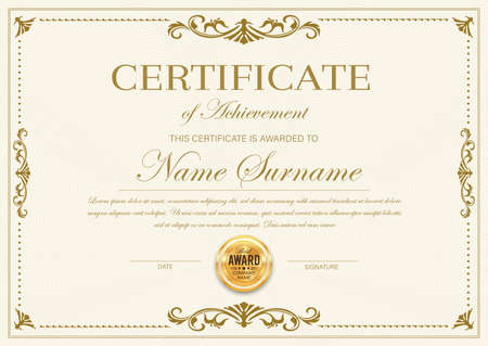 Certificate of achievement vector template, diploma, official award frame, ornate border design. Paper document for winner appreciation or graduation with golden stamp and place for name and surname