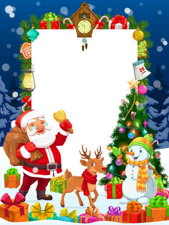 Christmas winter holidays vector blank template for greeting wishes, vector poster. Cartoon Santa with gifts bag and reindeer at Xmas tree with lights, decoration balls, golden stars and calendar