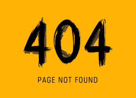 404 error, page not found in grunge style made of vector offroad tire prints. Lost internet connection, website under maintenance black dirty typography on yellow background. 404 page car tires track