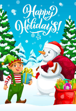 Christmas elf and snowman delivering Xmas gifts, winter holidays vector greeting card. Santa helpers with present boxes, red bags and hat, ribbons, bows and ornament balls, snowflakes and toys