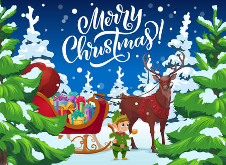 Christmas reindeer and elf with gifts, Xmas winter holidays vector design. Santas sleigh with Christmas present boxes, red bag and deer in winter forest with pine or fir trees, snow and snowflakes
