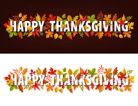 Happy Thanksgiving vector horizontal banners, greeting typography with autumn leaves. Thanks Giving day site footer or header with maple, oak, birch or rowan trees foliage on brown or white background