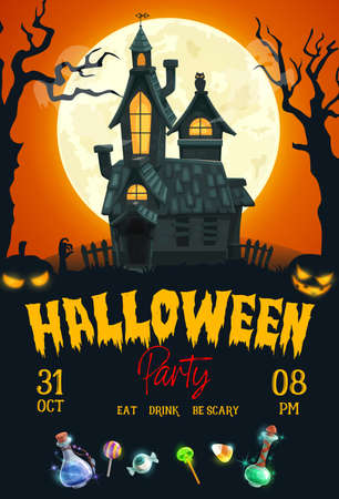 Halloween horror night party vector poster with haunted house, scary pumpkins and moon. Creepy Halloween holiday lanterns, cemetery trees, trick or treat candies and black magic potion bottles