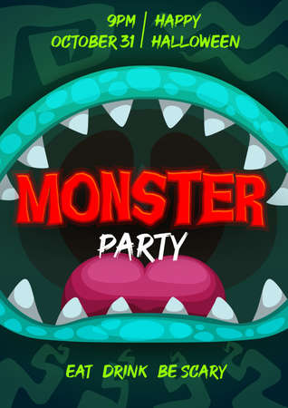 Halloween party vector flyer with monster mouth, cartoon invitation poster with open toothy jaws of alien beast, sharp teeth, tongue and pimply lips. Halloween party, event invite with creepy monster Illustration