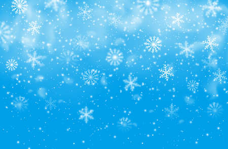Christmas snowflakes blue vector background. Winter holiday falling snow pattern with steam, decoration for xmas greeting card. Fantasy snow spinning, falling snowflakes backdrop