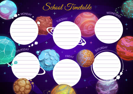 Education school timetable vector template with cartoon fantasy planets in dark starry sky. Kid time table schedule for lessons with alien planets, cosmic galaxy objects, weekly classes planner design