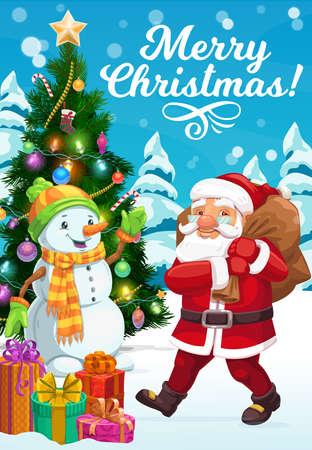 Christmas tree, Santa and snowman vector design with Xmas gift bag, present boxes and ribbon bows, snow, stars and candy canes, sock, balls, snowflakes and lights. Winter holidays greeting card