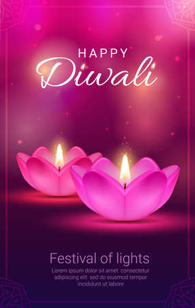 Indian Diwali light festival diya lamps vector design of Hindu religion holiday. Deepavali oil lamps in shape of flowers with pink petals and fire flames, greeting card with rangoli decoration frame