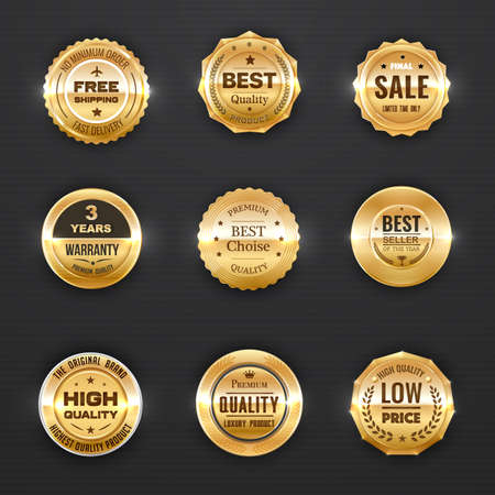 Warranty and quality labels vector golden emblems with laurel branches, stars and crowns. Best quality product, company or brand award badges, luxury design icons or stamps isolated gold icons set Illustration
