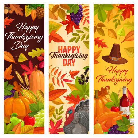 Happy Thanksgiving vector banners with falling leaves, autumn harvest, pumpkin, wine, turkey, honey and fruits. Grapes, maple, oak or poplar and birch with rowan foliage. Thanks Giving day greetings Illustration