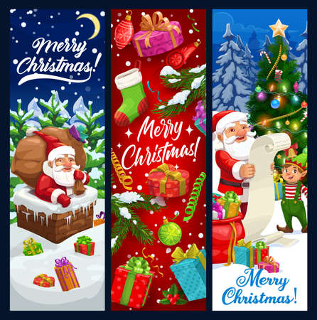 Santa and elf vector design of Christmas greeting banners. Winter holiday gifts, Xmas tree and Claus in chimney, present boxes, sock stocking and snow, balls, stars and snowflakes, candies and lights