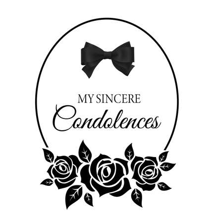 Funereal card with roses flowers and black neck tie. Funeral frame with mournful condolence typography. Mourning memorial card with flowers bloom and leaves silhouette vector